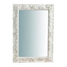Fleur-de-Lys Corner Antique White Rectangular Wall Mirror, 70x90 cm