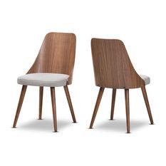 Romily Modern Walnut Wood Light Gray Fabric Dining Chairs, Set of 2