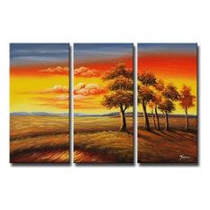 "Transitions at Sundown Canvas Wall Art, 32""x48"", 3 Piece Set"