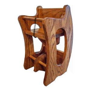 Amish Hardwood High Chair Oak Sunrise Slide Tray