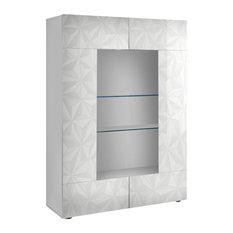 Prisma 2-Door Decorative Display Cabinet, White Gloss