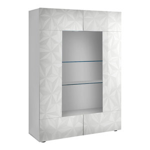Prisma 2-Door Decorative Display Cabinet, White Gloss