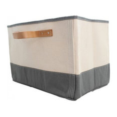 CB STATION - Monogrammed Tub Storage Bin With Leather Handle Gray - Storage Bins and  sc 1 st  Houzz & 50 Most Popular Contemporary Storage Bins and Boxes for 2018 | Houzz