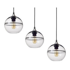 Unique Optic Hand Blown Glass Pendant Lights, Brushed Nickel, Set of 3, Clear