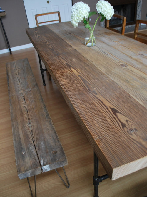 Reclaimed Wood Pipe Industrial Dining Table