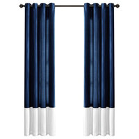 Window Curtain Panels, White And Navy, Set of 2