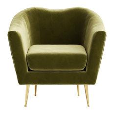 Omax Decor Nova Velvet Accent Chair Olive