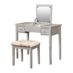 Linon Home Decor Products   Silver Butterfly Vanity Set   Bedroom U0026 Makeup  Vanities