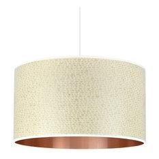 Cream Weave and Copper Wood Veneer Drum Lampshade, 50 cm