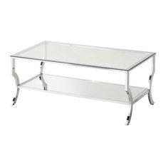 Coaster Fine Furniture   Coaster Glass Top Coffee Table, Chrome   Coffee  Tables