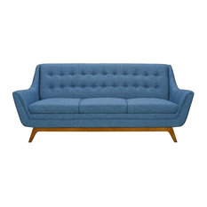 Janson Mid-Century Sofa Champagne Wood Finish And Blue Fabric