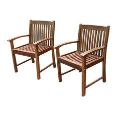 Highland Set of Two Acacia Hudson Arm Chair,Brown