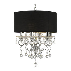 Silver Mist Crystal Drum Shade Chandelier With Faceted Crystal Balls