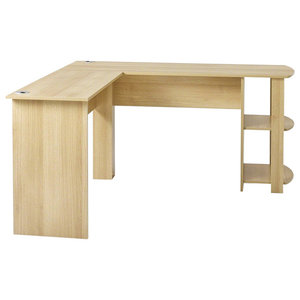 Modern L-Shaped Desk, MDF, 2 Open Shelves for Additional Storage Space, Oak