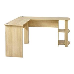 Modern L-Shaped Desk, MDF, 2 Open Shelves for Additional Storage Space, Oak