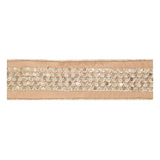 "2.5""x5 yd. Gold Sequin Trim Gold Dupion Wired Ribbon"