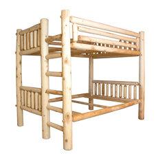 Rustic White Cedar Log Full Over Full Bunk Bed