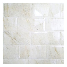 """4""""x8"""" White and Creme Beveled Marble Look Glass Wall Tile, Set of 72"""