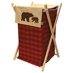 Trend Lab - Hamper Set, Northwoods - The Northwoods Hamper by Trend Lab is a decorative solution for quick clean up. The marching buffalo check print body and coordinating wood grain print outer flap easily attaches to the collapsible pine wood frame. The fashionable color palette of deep red, chocolate brown, oak and flax make this hamper suitable for any room of the house. A bear applique adds the finishing touch.
