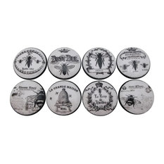 """Black and White Honey Bee Cabinet Knobs, 8-Piece Set, 1.5"""""""