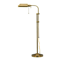 Cal Lighting Pharmacy Floor Lamp With Adjustable Pole, Antique Brass