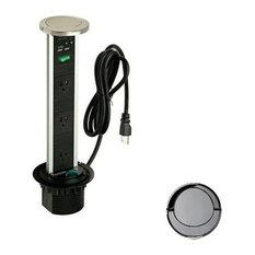 Sensio Pop Up Power Charging Station, 3-Socket 2-USB Outlets, Gun Metal