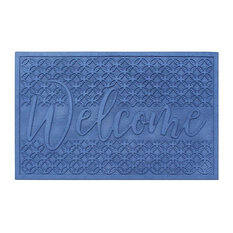 "Welcome Eco Poly Blue Entrance Mats With Anti Slip Fabric Finish, 24""x36"""