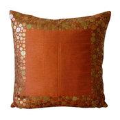 "Rust Orange Outdoor Chair Cushions Art Silk 20""x20"" Metal Sequins, Rust Glamor"