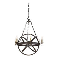 Eons Western Bronze Finish, Chandelier With 6 Lights