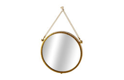 """Wall Mirror With Rope and Anchors, Gold, 18.13""""x25.75"""""""