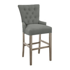 Modern Hekman Woodmark Sonya Bar Stool With Antique Brass Nailhead Trim