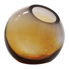 Ombre Ball Vase, Gray/Amber, Large