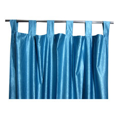 Mogul Interior - Consigned Blue Tab Top Sari Curtain / Drape / Panel - Curtains