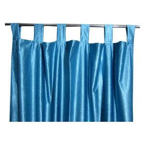 Mogul Interior - Consigned Blue Tab Top Sari Curtain / Drape / Panel - Curtains