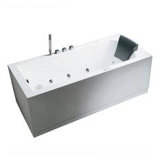 "Ariel Platinum 70"" Modern Whirlpool Bathtub, 70x30x25, Left"