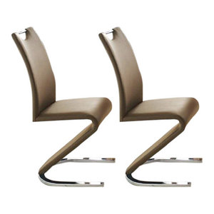 Modern Set of 2 Chairs, Padded Seat Upholstered, Faux Leather, Z Shaped