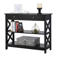 Console Table MDF Construction With X-Shaped Frame And 2 Open Shelves