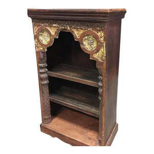 mogulinterior - Consigned Antique Indian Arch Bookshelf Book Case Bookshelf Arched Frame Patina - Bookcases