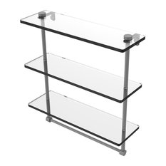 """16"""" Triple Tiered Glass Shelf With Integrated Towel Bar, Matte Gray"""