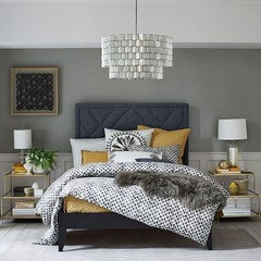 What Color Bedding For Dark Grey Headboard
