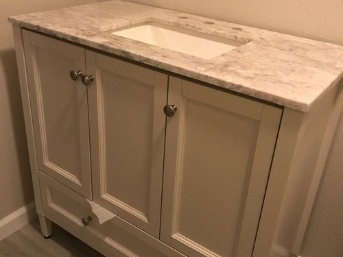 Freestanding Vanity Not Fit Flush Against The Wall Bc Of Baseboard