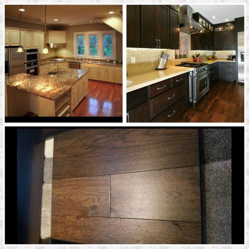 Medium Brown Kitchen Cabinets: Off White Or Dark Kitchen Cabinets? Hardwood Floor Is A