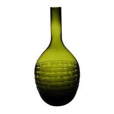 """Olive Green Bottle Vase. 14"""""""