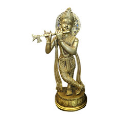 Mogul Interior - Gopal Krishna Playing the Flute Indian Brass Statue in gold finish from - Decorative Objects And Figurines
