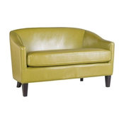 GDF Studio Isolde Petite Loveseat Settee Fabric or PU Leather, Green Leather