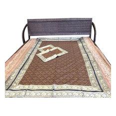 Mogul Interior - Brown Silk Bedding Boho Bedcover, Twin Size - Blankets