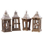 Benzara - 4-Piece Set Wood Square Lanterns With Silver Pierced Metal Top - Boost the appearance of your living place by getting this awesome assorted set of 4 wood square lanterns. This enthralling set is made from good quality wood and metal which will stay in prim condition for years to come. This set has four lanterns of same size but vary in pattern. This beautiful set of lanterns is in natural and silver hue featuring an outstandingly intricated designed top and glass window sides. The top of the lantern has a metal silver colored ring on the top to make it easy to hang. These lanterns would offer a majestic touch to your living place as they can be hung in your living room bedroom hallway or verandah areas. Friends and relatives visiting your place would find it adorable and would praise you for your rich taste in home decor. One should not worry about its cleanliness and maintenance as it can be wiped with a dry cloth. So hurry up and add this fantastic set of lantern to your collection! Helps enliven the ambiance of your place ideal gifting option wonderful design.