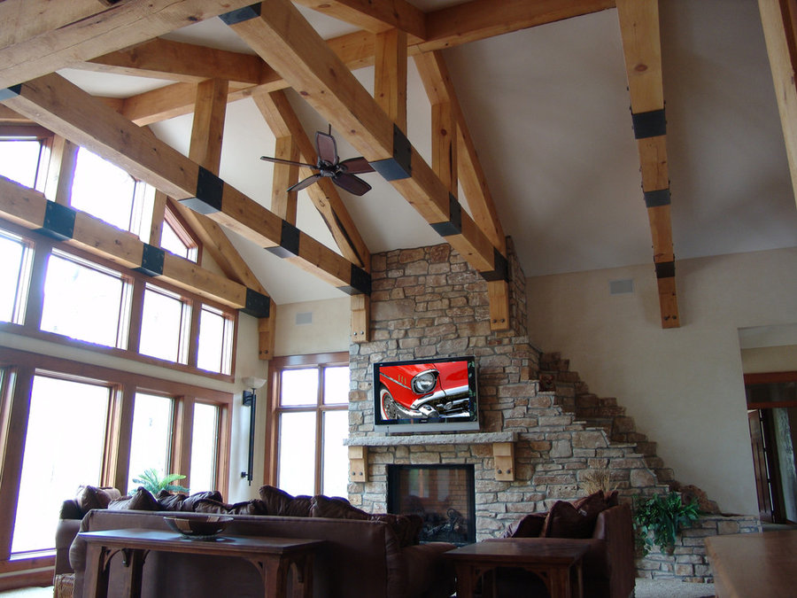Rustic Living Room Television Installation