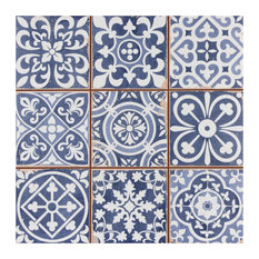 """SomerTile 13""""x13"""" Faenza Ceramic Floor and Wall Tile, Blue"""