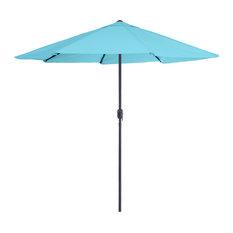 Pure Garden 9' Aluminum Patio Umbrella With Auto Crank, Blue